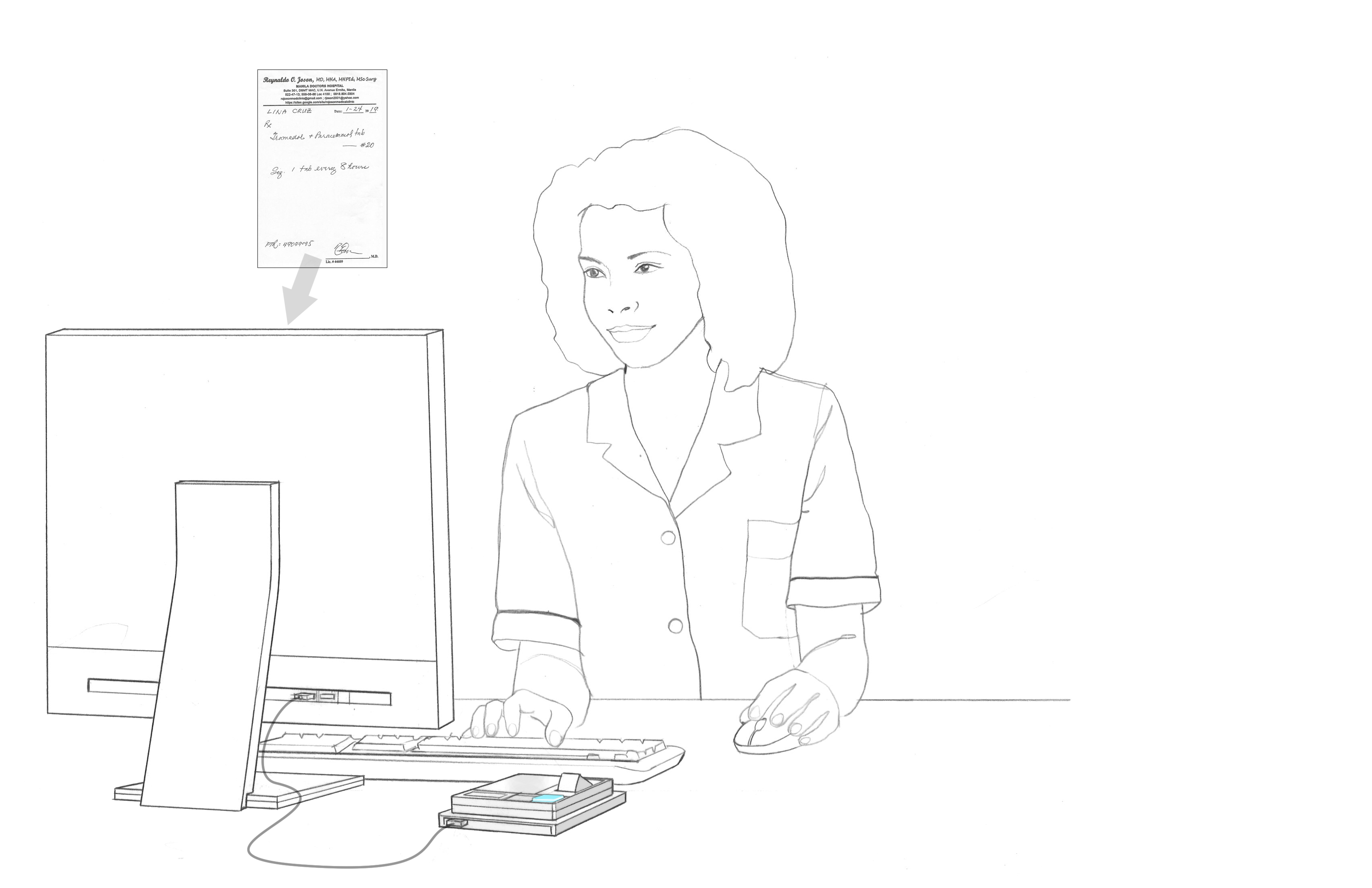 pharmacist checking prescription on computer illustration